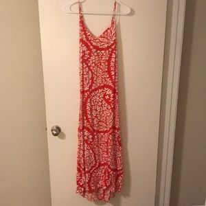 Red and white paisley maxi dress